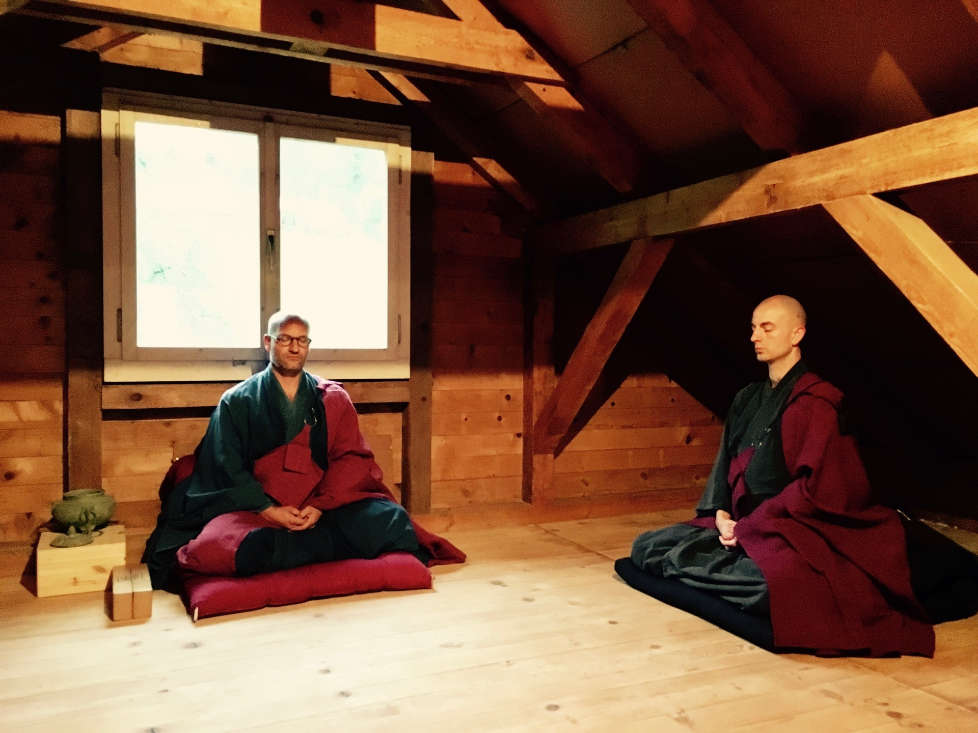 Daily meditation and monthly 7 day retreats