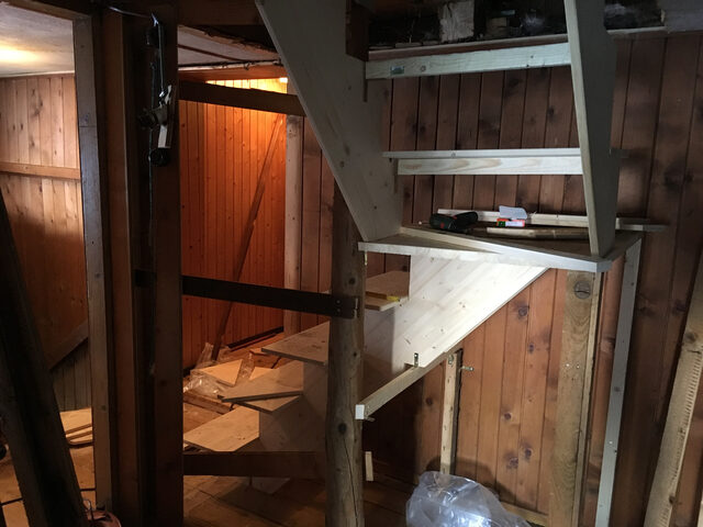 Early days: Building a staircase into the attic to build a meditation hall