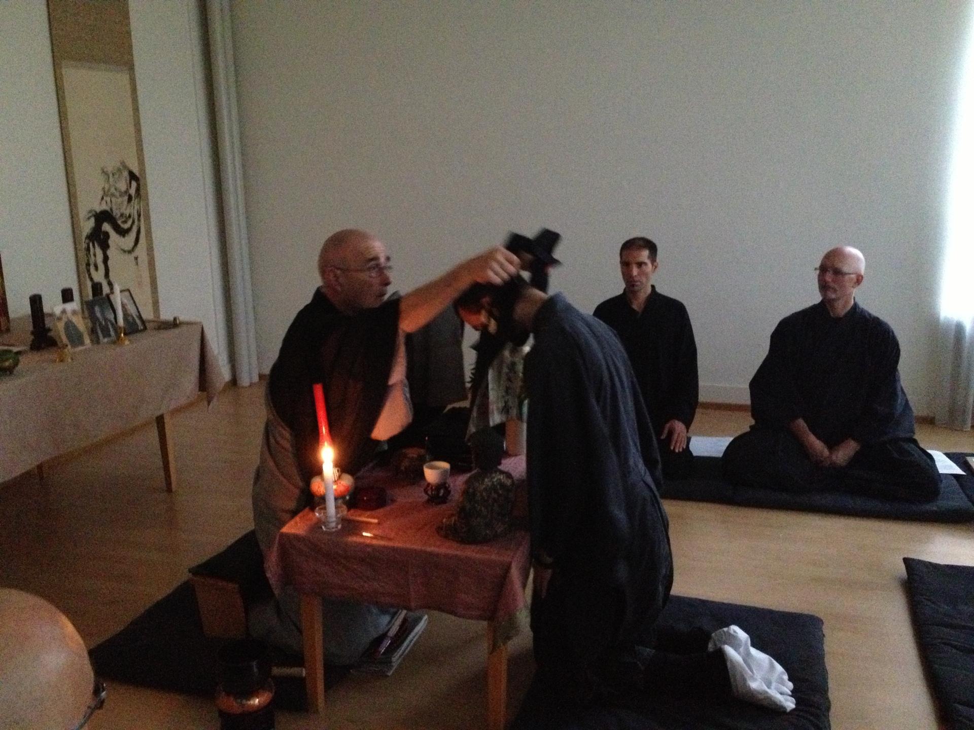 Formally receiving the rakusu with the Dharma name