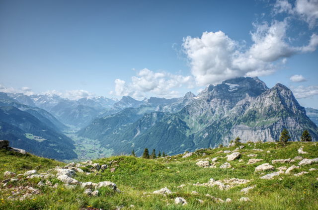 Looking into valley of Glarus with Mount Vorderglärnisch (just above Lambda Zen Temple)